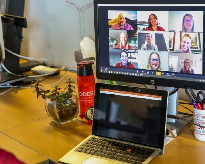 People participating in a Zoom meeting