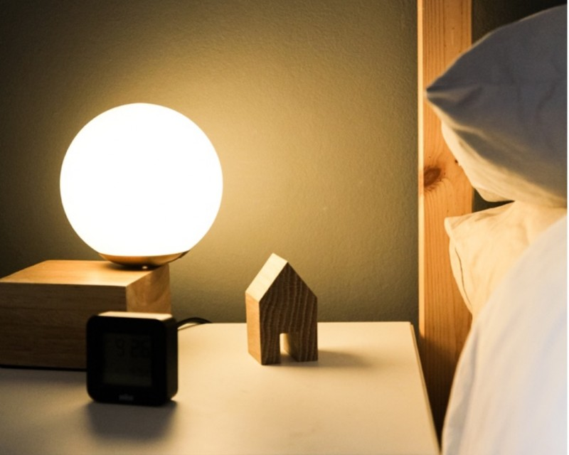 night light on a bed stand