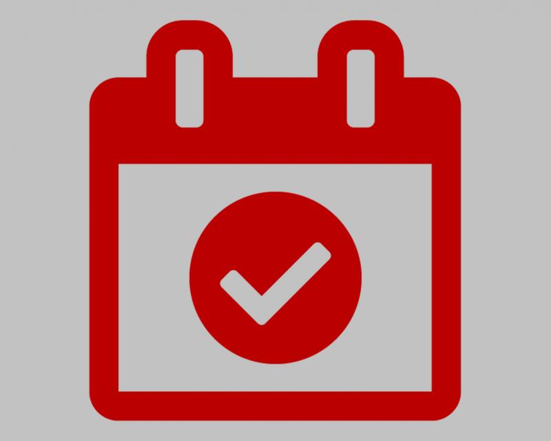 Red calendar icon on a dark gray background
