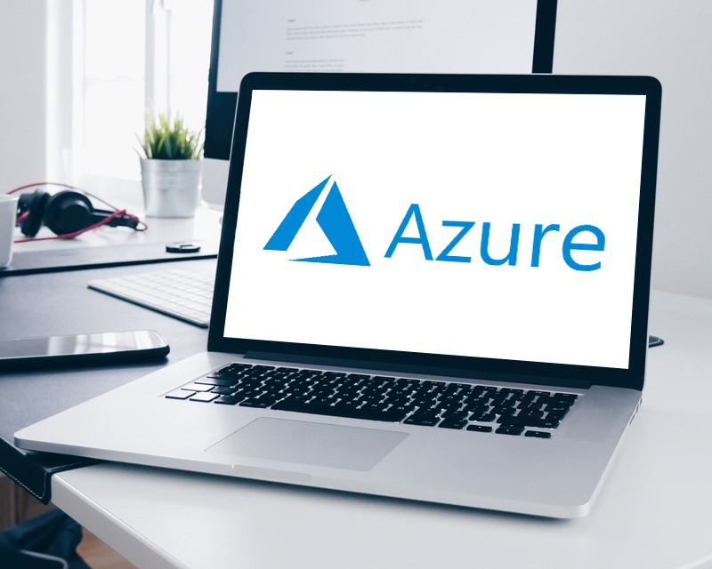 Azure logo on laptop screen