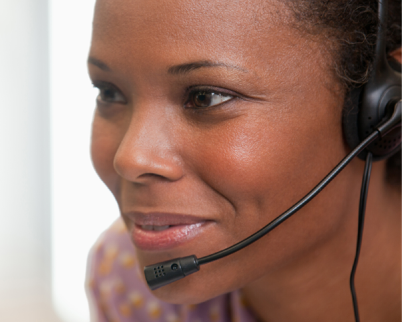 Woman working with headset